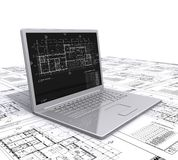 Laptop architecturale plannen Stock Afbeelding