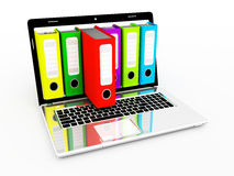 Laptop and archive folders Stock Photo