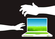 Laptop and Arms. A white notebook and reaching arms Royalty Free Stock Images