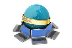 Laptop around the earth Stock Image