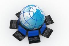 Laptop around the  globe Stock Photography