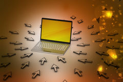 Laptop around the mouse points Royalty Free Stock Photo
