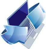 Laptop with arrow Royalty Free Stock Photography