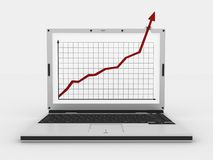 Laptop and arrow. Graph showing high growth anything vector illustration