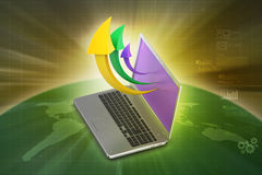 Laptop with arrow Royalty Free Stock Photo