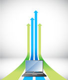 Laptop Arrow rising toward same direction success Royalty Free Stock Photography
