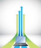 Laptop Arrow rising toward same direction success. Concept illustration design Royalty Free Stock Photography