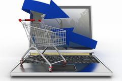 Laptop with arrow and Shopping cart Royalty Free Stock Photos