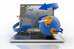 Laptop with arrow and Shopping cart with a globe Stock Photography