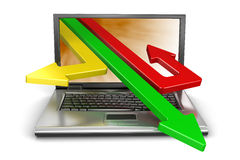 Laptop and Arrows (clipping path included) Stock Images