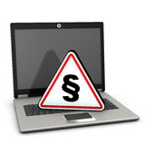 Laptop Attention Triangle Paragraph Stock Image