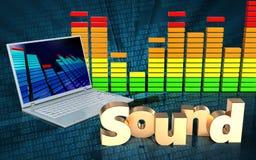 laptop audio do espectro 3d Fotos de Stock