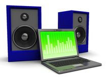 Laptop with audio speaker. 3d illustration of laptop and two audio speakers, over white background Stock Image