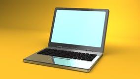 Laptop auf gelbem Hintergrund lizenzfreie abbildung
