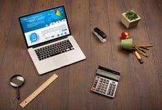 Laptop auf Schreibtisch mit Geschäftswebsite auf Schirm Lizenzfreies Stockfoto