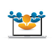 Laptop and avatar business people illustration Stock Photography