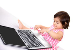 Laptop baby Royalty Free Stock Photography