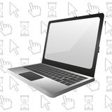 Laptop background computer icons Stock Photography