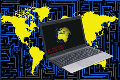 Laptop on a background with electronic circuit and world maps Stock Photos