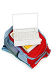 Laptop and backpack Stock Photo