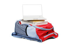 Laptop and backpack Stock Photos