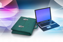 Laptop with bag Stock Images