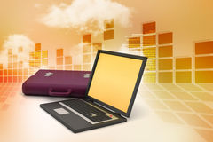 Laptop with bag Stock Photography