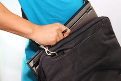 Laptop in the bag Royalty Free Stock Photos