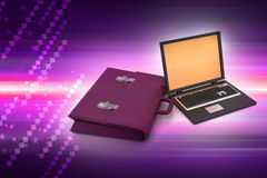 Laptop with bag Royalty Free Stock Images