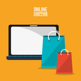 Laptop bags and shopping online design. Laptop and bags icon. Shopping online ecommerce and media theme. Colorful design. Vector illustration stock illustration