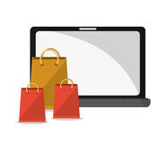 Laptop bags and shopping online design. Laptop and bags icon. Shopping online ecommerce and media theme. Colorful design. Vector illustration royalty free illustration