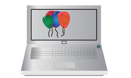 Laptop with Balloons Stock Images
