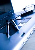 Laptop & Ballpoint & Glasses Royalty Free Stock Photos