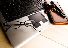 Laptop & Ballpoint & Glasses Stock Image