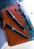 Laptop & Ballpoint & Glasses Royalty Free Stock Photo