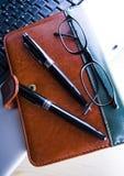 Laptop & Ballpoint & Glasses Royalty Free Stock Photo