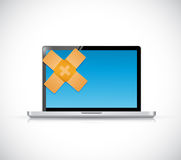 laptop band aid fix solution concept Stock Photography