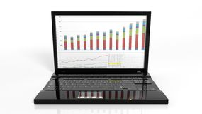 Laptop with bar chart on screen Stock Photos