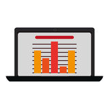 Laptop with bar graph , Vector illustration. Colored bar graph on the screen of a computer  illustration isolated over white Royalty Free Stock Photo