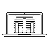 Laptop with bar graph , Vector illustration. Laptop showing bar graph  illustration isolated over white Royalty Free Stock Image