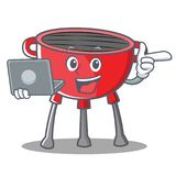 With Laptop Barbecue Grill Cartoon Character. Vector Illustration Royalty Free Stock Photo