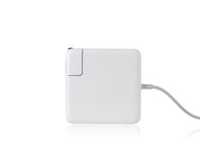 Laptop battery charger. On white Royalty Free Stock Image