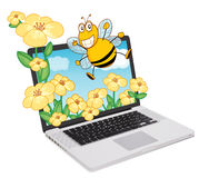 Laptop and bee, flowers Stock Image