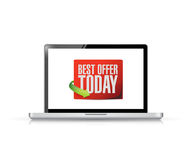 Laptop best offer today sign illustration design Stock Images