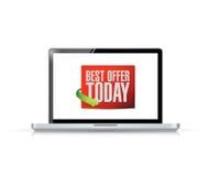 Laptop best offer today sign illustration design Stock Images