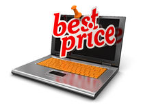 Laptop and Best Price (clipping path included) Stock Images