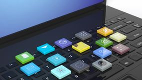 Laptop with beveled square apps Stock Photos