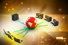 Laptop with big server and globe Stock Image