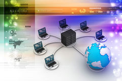 Laptop with big server Net Work firewall. Royalty Free Stock Image