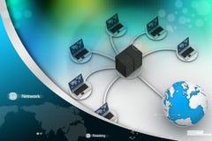 Laptop with big server Net Work firewall. 3D Image Stock Photo
